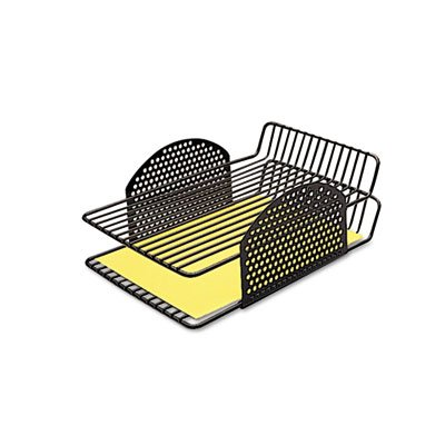 Perf-Ect Double Letter Tray, Two Tier, Wire, Black, Sold as 1 (Fellowes Double Basket Wire)