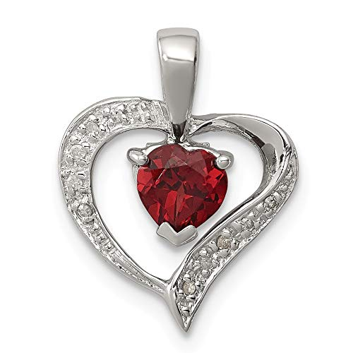 925 Sterling Silver Heart Red Garnet Diamond Pendant Charm Necklace Gemstone Love Fine Jewelry Gifts For Women For Her ()