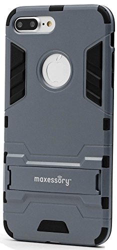 Maxessory Stealth Ultra-Slim Dual-Layer Shock-Proof Rugged Heavy-Duty Rubber Grip Rigid Hybrid Armor Shell Cover w/ Kickstand Dark Blue Black For Apple iPhone 7 Plus, iPhone 8 Plus (5.5 inch) Case (Case Rubberized Hardback Cover)