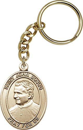 Gold Toned Catholic Saint John Bosco Medal Key Chain
