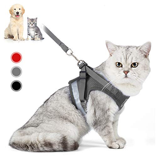 Cat Harness with Leash Set, Adjustable Soft Mesh Reflective Pet Harnesses, Extended Version of The Reflective Strip Harness,Suitable for Kittens, Puppies, Small Pets (L (Chest Girth:16.5