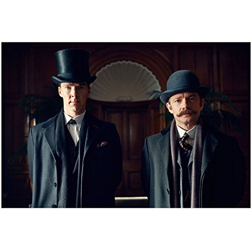 Sherlock 8 Inch x10 Inch Photo Martin Freeman & Benedict Cumberbatch in Overcoats Arched Doorway Between Them in Background kn]()