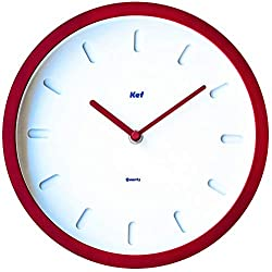 """The Kef Clock by Marksson 》Round modern contemporary design. This 10"""" Quartz, Chili Red wall clock is Non-Ticking and 100% silent. Perfect wall décor for any bedroom, office, kitchen or lounge room."""