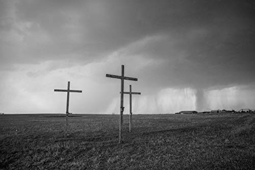 Christian Faith Photography Art Print - Black and White Picture of Three Wooden Crosses and Passing Storm in Texas Religious Decor 5x7 to 40x60