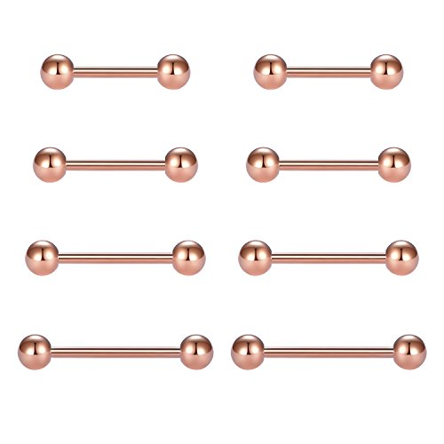 vcmart Nipple Rings Tongue Rings Stainless Steel Straight 14G Barbells Piercing Jewelry Rose Gold ()