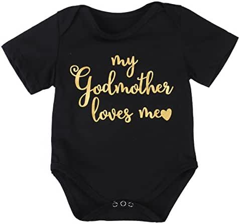 Newborn Baby My Godmother Loves Me Funny Bodysuits Rompers Outfits Black