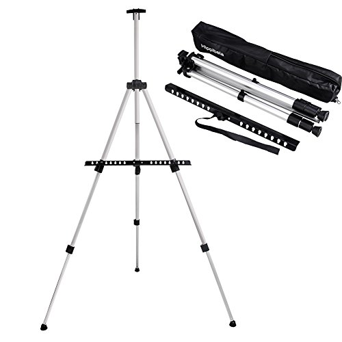 Art Easel - Aluminum Metal Easel Stand - Adjustable Floor Easels for Adults & Kids Painting - Lightweight 66 inches - Included Black Carry Bag (1-Pack) by hippibela