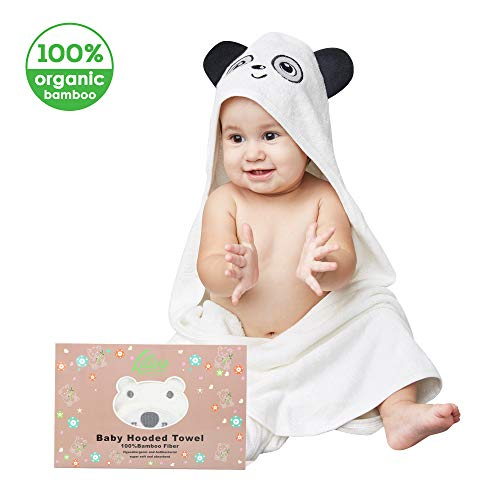 Organic Bamboo Hooded Baby Towel & Washcloth Set - Large Soft Absorbent Towel for Babies,Toddlers, Infants - Hypoallergenic Anti-Bacterial Bear Face Baby Shower Gift for Girls and Boys (Lovely Panda)