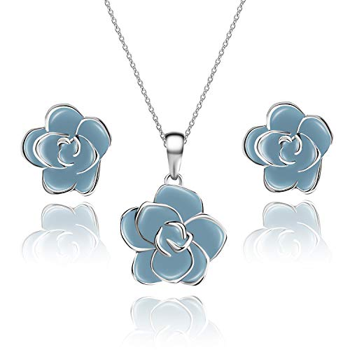 EVEVIC Rose Flower Necklace Earrings Set for Women Girls 18K Gold Plated Jewelry Sets (Light Blue/Silver-Tone)