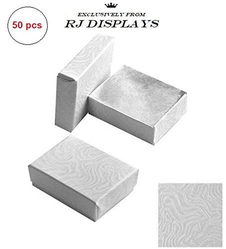 50 Pack Cotton Filled White Color Jewelry Gift and Retail Boxes Jewelry Pendant Earring Necklace Bracelet Gift Packaging Box 2 1/8 x 1 5/8 x 3/4 Inches Size #11-By RJ Displays