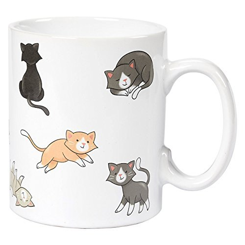 Ceramic Coffee Mug with Handle - Smiley Cats Design, Large Stoneware Tea Cup for Pet Lovers, Novelty Gift for Birthday, Friends, Lovers, White, 16 ()