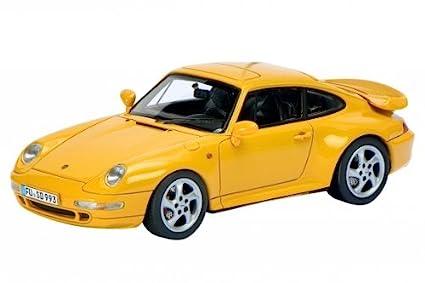 Porsche 911 Turbo in Yellow Diecast Model Car in 1:43 Scale by Schuco