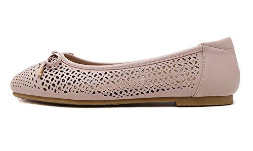Minetom Mujer Verano Casual Cabeza Cuadrada Arco Plano Zapatos Salón Con Dedos Antideslizante Shoes Ahuecar Pisos Bowknot Rosa