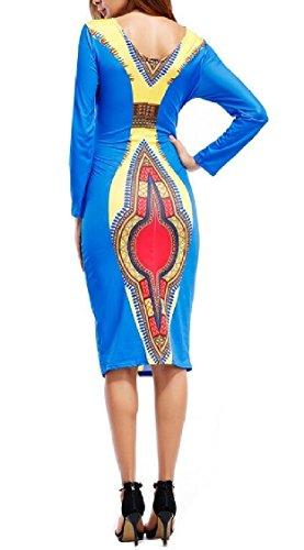 Jaycargogo Vintage Print Africain Dashiki Femmes Manches Longues Robe Moulante Midi Comme Image
