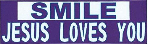 StickerTalk 10in x 3in Smile Jesus Loves You Bumper Stickers Window Decals Sticker Car Decal