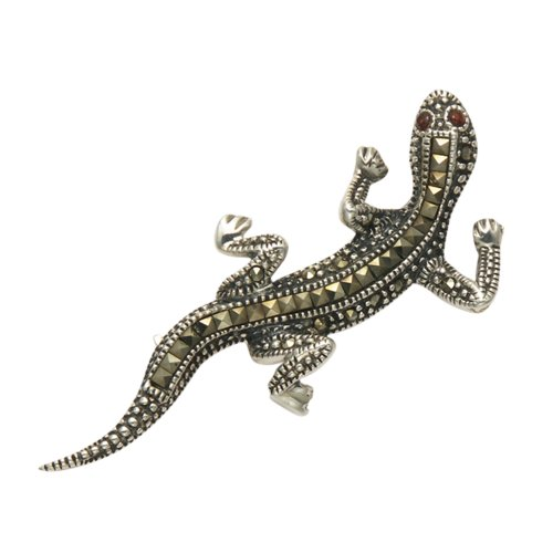 Wild Things Sterling Silver & Marcasite Gecko Pin with Faceted Orange Crystal - Lizard Pin Marcasite