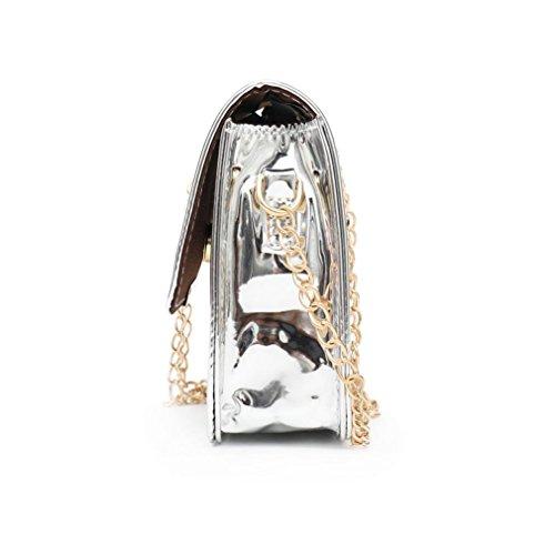 láser bolso cruzado bandolera mujer bolso bandolera de cuero Bolsas Plata plateado moda disfraz wISzR1