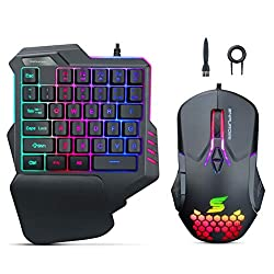 Snpurdiri-RGB-One-Handed-Gaming-Keyboard-Mouse-Combo-Wired-35-Keys-Single-Hand-Gaming-Keyboard-Honeycomb-Shell-Mice-Set-for-Game-PC-Computer-Mac-Laptop