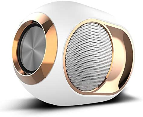 White with Handsfree Call for Home Outdoor Travel TF Card Punction HD Sound and Enhanced Bass AUX Line 10m Wireless Range up to 8 Hours Playtime Mini Portable Bluetooth Speakers