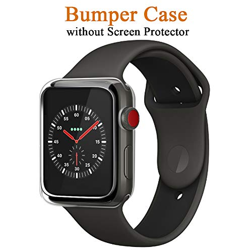 LELONG Compatible with Apple Watch Screen Protector and Case 38mm, One Soft TPU All-Around Clear Cover and One Protective Bumper Compatible with Apple Watch Case Series 3, Series 2