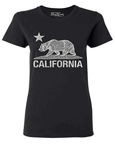 (Shop4Ever California Vintage White Bear Women's T-Shirt Cali Shirts Medium Black 0)