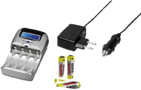 Hama - Delta LCD 2/4 - Cargador rápido con 4 pilas AA, color plata
