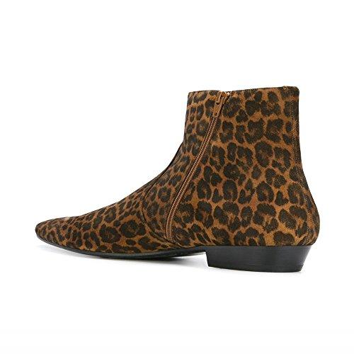 Zapatos Con Punta En Punta De Leopardo De Los Hombres De Leopardo Con Punta Puntiaguda Chelsea Botines Chelsea
