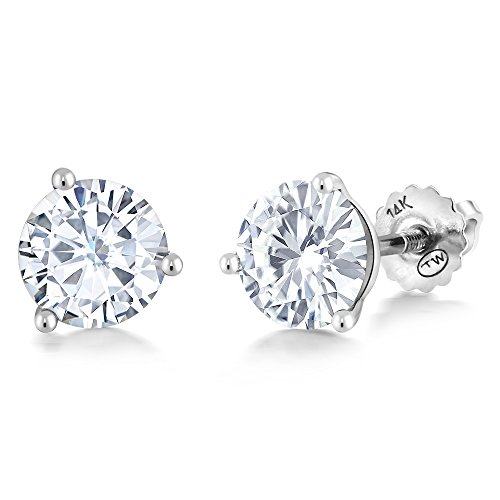 Charles & Colvard Forever Classic 6mm 1.60cttw DEW White Created Moissanite 14K White Gold Screw Back Posts Round Martini Stud Earrings