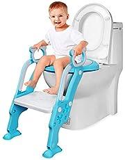 AiKiddo Aseo Escalera Asiento Escalera del tocador de niños Asiento para WC con Escalón plegable Orinal Formación