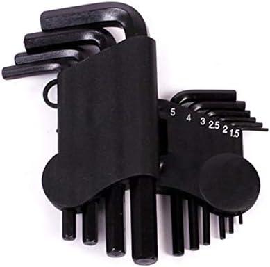 10ピースフラットアングルロングアーム六角レンチセット、表面熱処理バナジウム鋼黒酸化物、修理および装飾に適しています