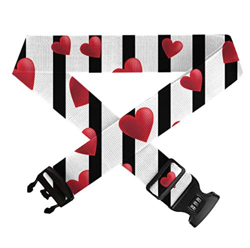 GLORY ART Black and White Stripes Hearts - Heavy Duty Luggage Straps for Suitcase 20