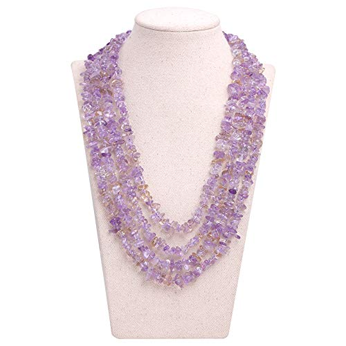 (GEM-inside Gemstone Necklace Ametrine Chips Charm Fashion Bohemia Statement Hyperbole Bib Stand String Beaded Necklace Crystal Unisex 18-21Inches)