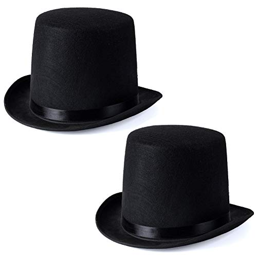Funny Party Hats Black Felt Adult Size Top Costume Hat (Black - 2 Pack) -