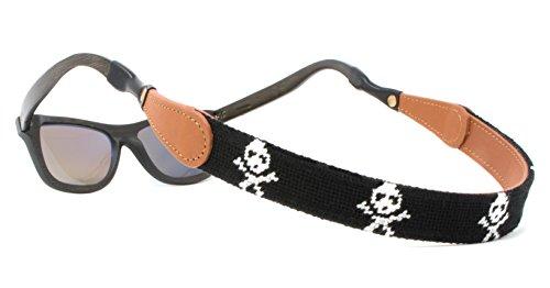 Needlepoint Sunglass Strap Sunglass Retainer by Huck Venture (Skull & Bones)]()