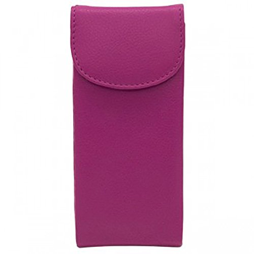 Ili Womens Leather 6470 Double Eyeglass Case (Fabulous Fuchsia)
