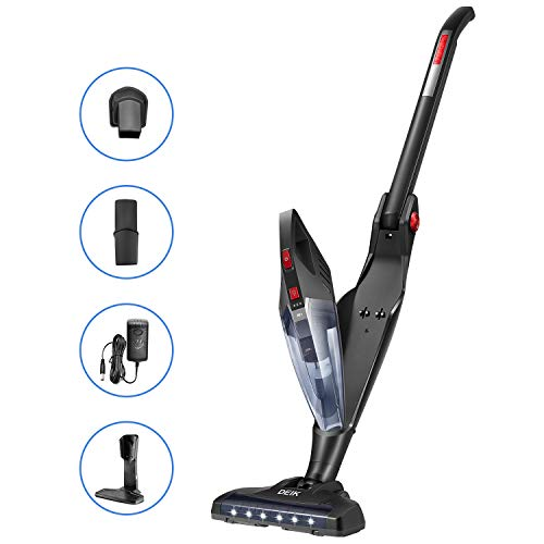 Deik Cordless Vacuum Cleaner, 2 in 1 Stick Vacuum Cleaner, Lightweight Foldable Vacuum with Corner Lighting, 2200mAh Rechargeable Li-ion Battery, for Pet Hair and Car, Black