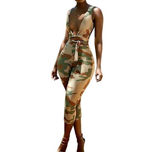 WEUIE Hot Sale Women Sexy Camouflage Indie Fork Halter Strapless Short Tank Pencil Pants Set - Dress Silk Hem Petal