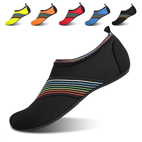 JOINFREE Women's Men's Kid Yoga Barefoot Quick-Dry Water Sports Shoes Beach Swim Footwears Bevel Black XX-Large