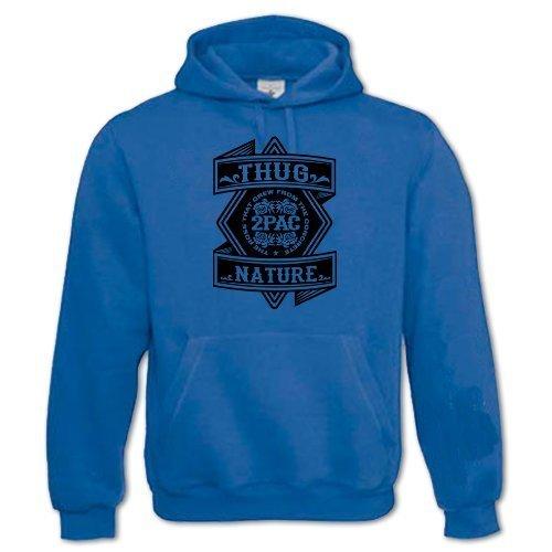 Bang Tidy Clothing Men's Thug Nature 2 Pac Thug Life Tupac Shakur Hoodie Medium Blue