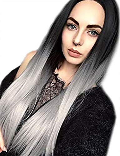 TopWigy Ombre Grey Women Wigs Long Straight Middle Part Dark Roots Synthetic Colored Women Hair Replacement Full Wigs (Light Grey 26