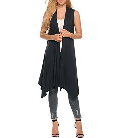 Asatr Women Lightweight Sleeveless Draped Open Front Cardigan Jersey Vest, Black - Draped Sleeveless