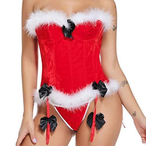 MISS MOLY Mrs Claus Costume Velvet Christmas Lingerie V-Neck Fancy Dress Outfit (Small) ()