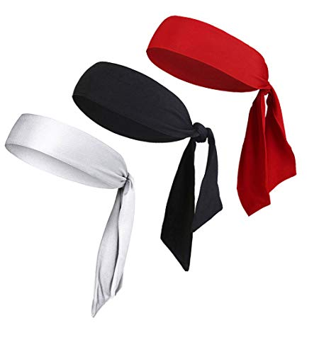 LIMOSUNO Headbands for Men Women Girls Boys, Dry Fit Head Tie Headband Sports, Pirate Bandana Headwear Performance Elastic & Moisture Wicking & Non Slip (3pcs Black&White&Red)