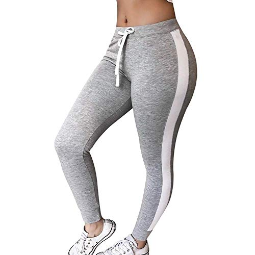 (bibss 2019 New Sexy Women Fashion Slim Fit Striped Pants Yoga Running Pants Workout Leggings Fitness Gym Trousers Outdoor Leggings (Grey,S))