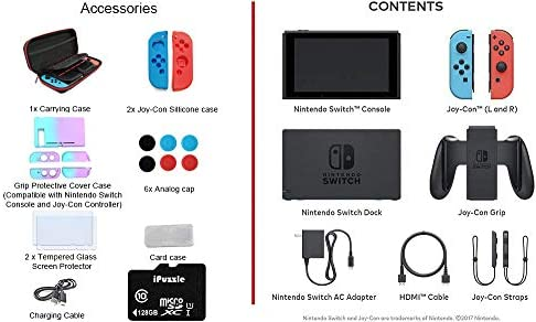 "Newest Nintendo Switch with Neon Blue and Neon Red Joy-Con - 6.2"" Touchscreen LCD Display, 32GB Internal Storage, 802.11AC WiFi, Bluetooth 4.1 - Blue and Red - 128GB SD Card + 12-in-1 Carrying Case"