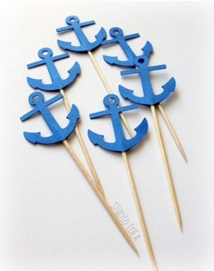 Blue-Anchor-Cupcake-Toppers-Birthday-Nautical-Beach-Wedding-Bridal-Baby-Shower-Toothpicks-Engagement-Food-Pick