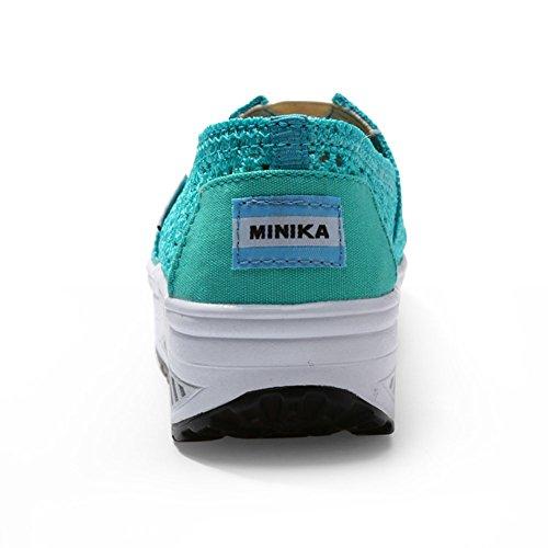 11blue Lightweight Platform Sport Slip Sneaker On Heel Women Athletic Shoes Toning High KUIBU Breathable Crochet q6wT5C