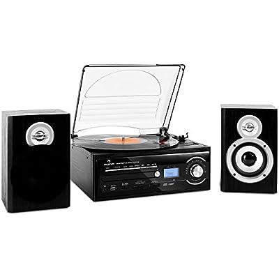 AUNA TT-190 stereo system Record player  Vinyl turntable  Belt drive  Max  RPM  2-way speaker pair  Bass reflex  Radio tuner  USB port  Digitization function  Remote control  black
