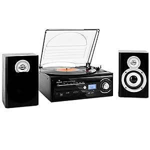 auna TT-190 cadena estéreo con tocadiscos (MP3, CD, USB, SD, casete, mando a distancia, función grabación, pantalla LCD)
