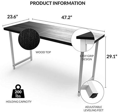 Halter Portable Simple Metal Wood Desk| Easy Assembly | Multipurpose Assembled Small Desk | Laptop Desk